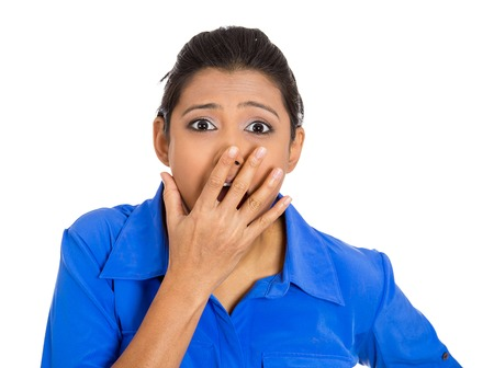 sudden: Closeup portrait of surprised, shocked dumbfounded flabbergasted young woman covering mouth