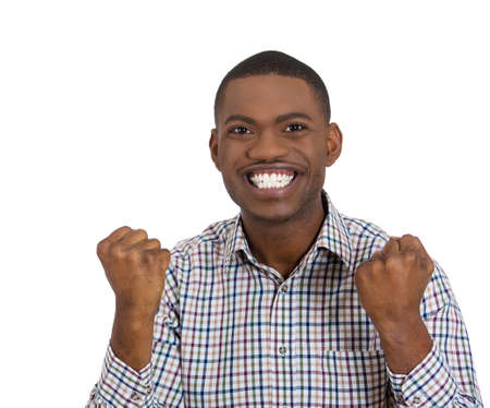 Closeup portrait of handsome happy, screaming young student man winning, arms, fists pumped celebrating success, isolated on white background, Positive human emotion, facial expression feeling