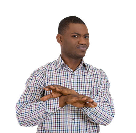 irked: Closeup portrait of angry man with hands in X sign telling someone to stop talking, isolated on white background. Negative emotion, facial expression feelings, body language symbols. Conflict problems