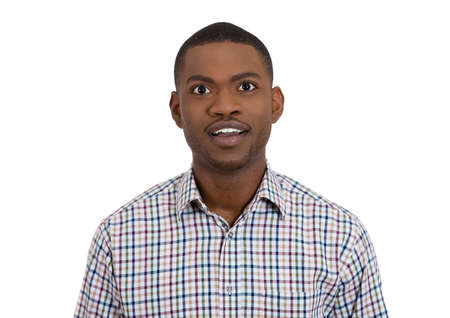ambiguous: Closeup portrait of clueless dumb looking young man who came to realization and understanding of something, isolated on white background. Negative emotion facial expression feelings. Body language