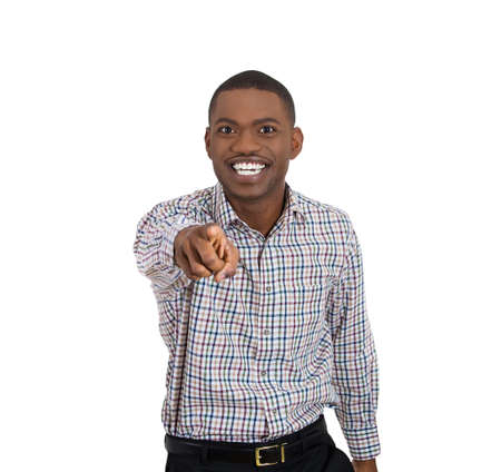 stretched: Closeup portrait of laughing , handsome, excited, happy man pointing at you camera gesture with finger, isolated on white background. Positive human emotions facial expression feelings Stock Photo