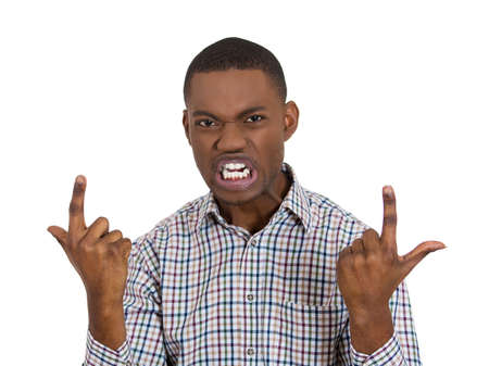 prove: Closeup portrait of angry, mad young business man screaming, trying to prove his point, isolated on white background. Negative human face expression, emotions, feelings, attitude, reaction, perception