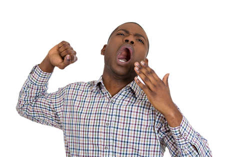 the unskilled worker: Closeup portrait of handsome tired fatigued man stretching arms, back, shoulders , yawning, isolated on white background. Negative emotion facial expression feeling
