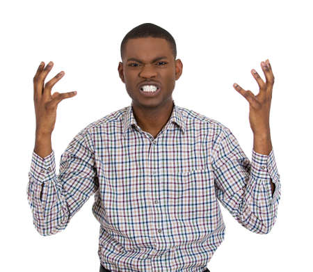miscommunication: Closeup portrait of angry man with hands raised, looking at you distressed, isolated on white background. Negative emotion, facial expression, feelings, attitude, perception Conflict problems, issues.