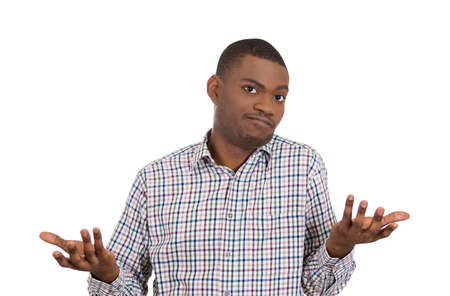 Closeup portrait of dumb clueless young man, arms out asking why whats the problem who cares so what, I dont know. Isolated on white background. Negative human emotion facial expression feelings Stock Photo