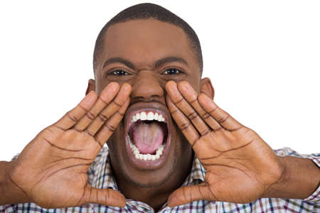 yelp: Closeup, cropped portrait of upset, angry, mad man with hands close to wide opened mouth yelling, isolated on white background. Negative emotion, facial expression, feelings. Conflict problems, issues Stock Photo