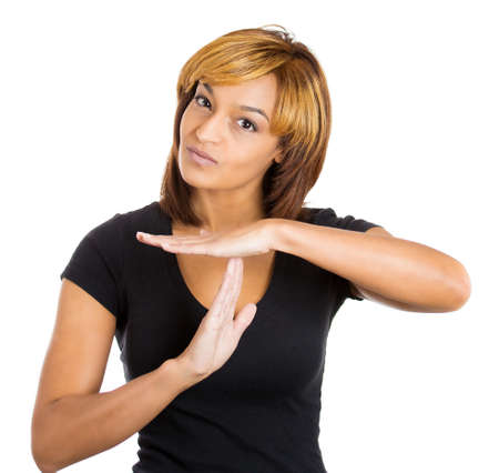 conclude: Closeup portrait of young beautiful woman teenager making time-out sign with hands, isolated on white background. Human emotion facial expressions and symbols Stock Photo