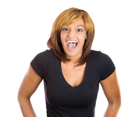 cackle: Closeup portrait of smiling laughing super happy excited beautiful woman looking at you camera gesture, isolated on white background. Positive human emotion facial expression feeling