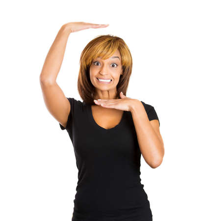Closeup portrait of young woman making gesture with her hands enclosing her entire face and head in square, isolated on white background. Positive human emotions facial expressions feelings photo
