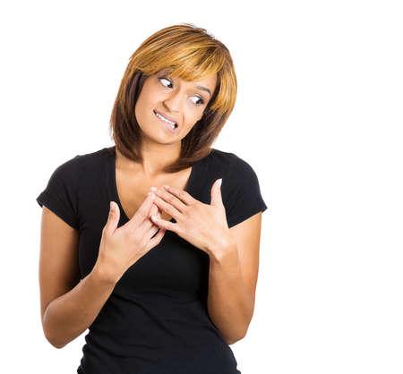 facial gestures: Primer retrato de mujer joven que busca acabar diciendo lo siento, comet� un error a trav�s del lenguaje corporal y gestos con las manos. Aislado en el fondo blanco. Emociones humanas negativas expresiones faciales sentimientos