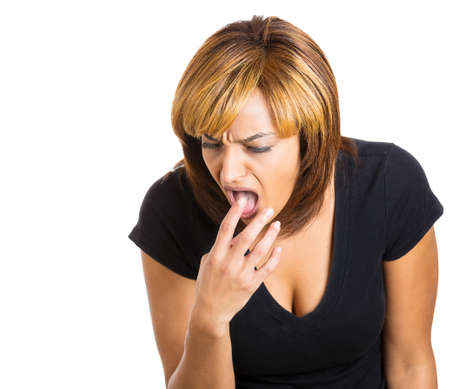 bowel movement: Closeup portrait of young woman, annoyed, frustrated fed up sticking fingers in her throat showing she is about to throw up. Case anorexia nervosa, Isolated on a white background. Negative emotion Stock Photo