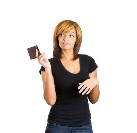 hedonism: Closeup portrait of beautiful young woman with attitude tossing wallet with dollars, doesnt need your money it is worthless, isolated on white background. Negative emotion facial expression feeling