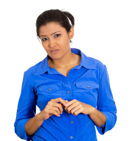 pessimistic: Closeup portrait of skeptical young woman looking suspicious with some disgust on her face, mixed with disapproval, isolated on white background. Negative human emotions, facial expressions, feelings
