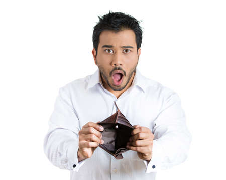 speechless: Closeup portrait of shocked, surprised, speechless business man, student, worker, employee, holding empty wallet isolated on white background. Bankruptcy, financial difficulties. Human face expression