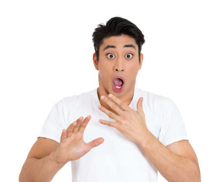 Closeup portrait of handsome, surprised, shocked, stunned young man, worker, student, employee, in full disbelief, isolated on white background. Human face expressions, emotions, reaction, perception photo