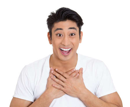 awe: Closeup portrait of handsome, surprised, shocked, stunned young man, worker, student, employee, in full disbelief, isolated on white background. Human face expressions, emotions, reaction, perception Stock Photo