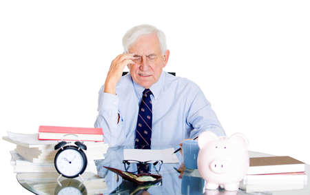 Closeup portrait of stressed, overwhelmed, sad elderly business man, old accountant, broker bank worker troubled by budget numbers, unhappy with contract, thinking worried isolated on white background Stock Photo