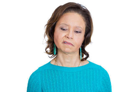 rant: Closeup portrait of old woman, senior employee, grandmother, with disgust on her face, something stinks, she is very displeased with the situation, isolated on white background. Interpersonal conflict Stock Photo
