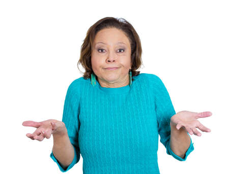 Closeup portrait of senior mature woman asking question whats the problem, so what, who cares, why, i dont know, isolated white background. Negative emotion facial expression feelings