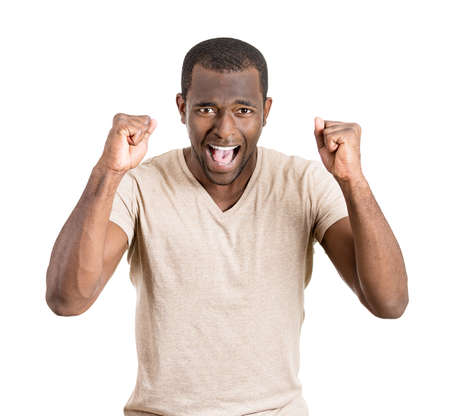 miscommunication: Closeup portrait of angry man with fist raised, wide open mouth, yelling, isolated on white background. Negative emotion, facial expression, feelings, attitude, perception. Conflict problems, issues.