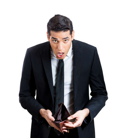 speechless: Closeup portrait of shocked, surprised, speechless business man, student, worker, employee, holding empty wallet isolated on white . Bankruptcy, financial difficulties. Human face expression