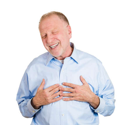 mirthful: Closeup portrait of senior mature, mirthful business man, employee, doubled over laughing, isolated on white background. Positive human emotions facial expressions, feelings, attitude perception
