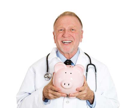 reimbursement: Closeup portrait of senior mature health care professional, doctor, nurse, with stethoscope holding piggy bank. Medical insurance, medicare reimbursement, health care reform concept. Hospital budget