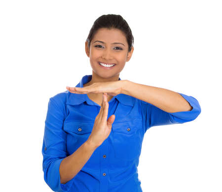 egyptian woman: Closeup portrait of young happy smiling woman showing a time out gesture with hands isolated on white  Stock Photo