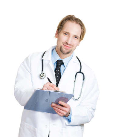 Closeup portrait of confident, smiling young male family doctor, cardiologist, health care professional taking notes from patient isolated on white background. Positive human emotions face expressions photo