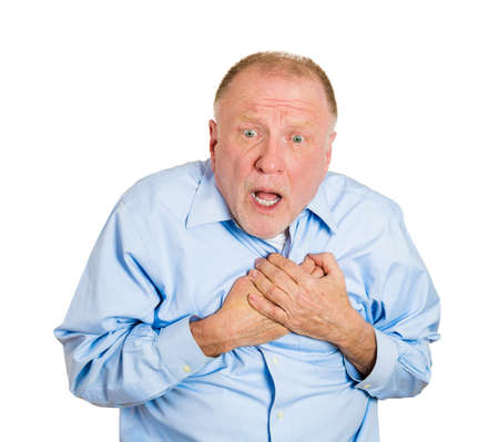 rupture: Closeup portrait elderly male executive, corporate employee having sudden chest, heart pain, trying catch up air, suffocating, isolated white background. Myocardial infarction, aortic aneurysm rupture