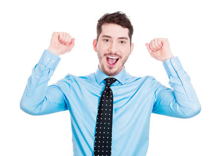 Closeup portrait of excited, energetic, happy, smiling student, business man winning, arms, fist pumped, celebrating success, isolated on white background. Positive human emotion, facial expression photo