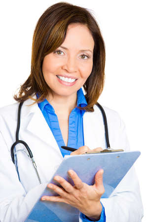 Closeup portrait friendly, smiling, confident female doctor, taking patient notes, health care professional, isolated white background. Health care reform. Positive face expression, emotion, attitude photo