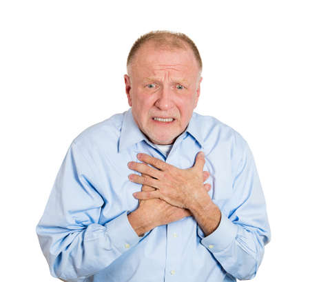 Closeup portrait elderly male executive, corporate employee having sudden chest, heart pain, trying catch up air, suffocating, isolated white background. Myocardial infarction, aortic aneurysm rupture photo
