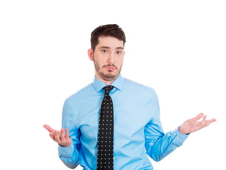 Closeup portrait of handsome business man, worker, student asking what is the problem, who cares, so what, I dont know. Isolated on white background. Human face expressions, attitude, body language photo