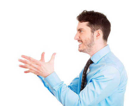 unprofessional: Closeup side view profile portrait of angry man, with hands in air to strangle someone, isolated on white background. Negative emotion facial expression feelings. Conflict problems issues Stock Photo