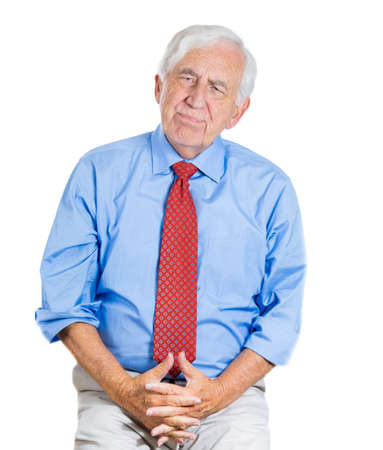 geriatrics: A close-up portrait of an old,sad, thoughtful, lonely man, trying to recall, remember something, isolated on a white background. Geriatrics problems, memory loss, Alzheimers, depression.
