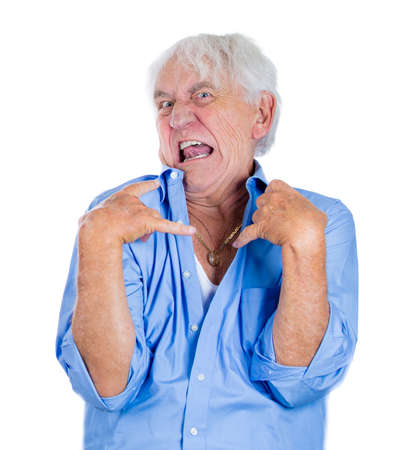 retardation: A close-up portrait of an elderly, mad, looking crazy, desperate man, grandfather, going insane, isolated on a white background. Human emotions extremes. Loneliness, grief, family loss. Psychosis. Stock Photo
