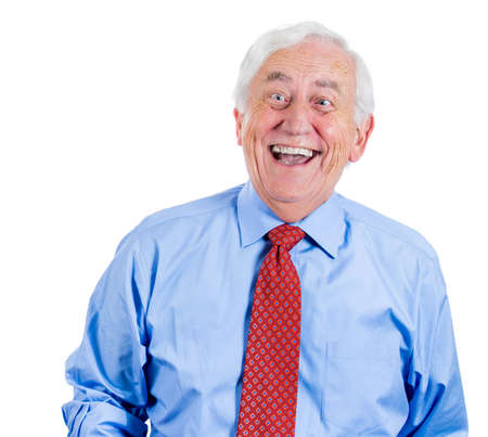 Closeup portrait of senior, mature, elderly man, grandpa, businessman, corporate executive laughing at you, isolated on white background with copy space. Positive human emotions and facial expressions photo