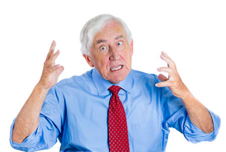 interpersonal: Closeup portrait of a senior executive, elderly businessman, grandpa trying to prove his point and asking a question do you understand me? Human conflict resolution and interpersonal communication