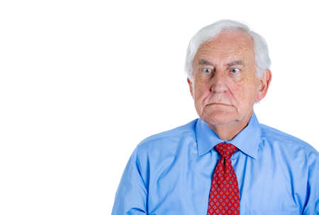 rant: Closeup portrait of an old guy, senior executive, grandfather, with disgust on his face, something stinks,he is very displeased with the situation, isolated on white background. Interpersonal conflict Stock Photo
