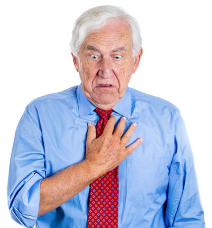Closeup portrait of elderly male executive, old corporate employee having sudden chest, heart pain, heartburn, trying to catch up the air, suffocating, or showing disgust, isolated on white background photo