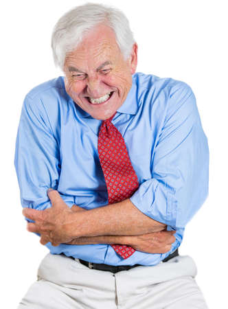 Closeup portrait of senior executive, old man, elderly corporate employee, grandfather looking miserable, very sick, doubling over in stomach, spleen pain, isolated on white background. Heart attack. photo