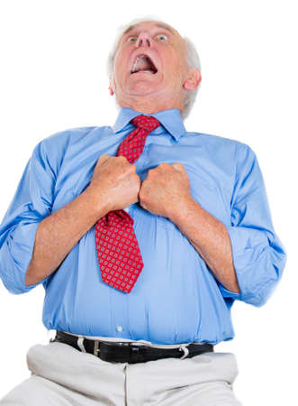 A close-up portrait of an elderly male executive, corporate employee having sudden chest, heart pain, trying to catch up the air, suffocating, isolated on a white background photo