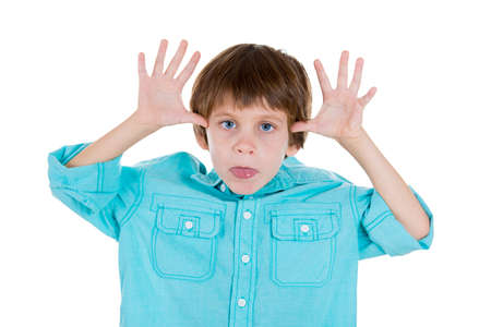 bad manners: Closeup portrait of adorable kid in blue shirt sticking out tongue at you camera gesture thumbs hands on temple, isolated on white background with copy space. Negative human emotion facial expression