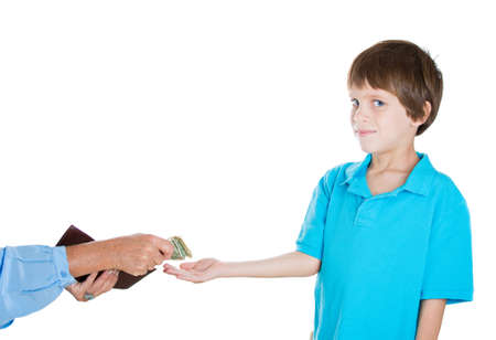 give out: Closeup portrait of adorable boy demanding money for allowance, woman pulls out money from wallet to give him, isolated on white background