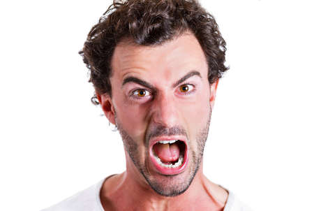 Closeup portrait mad, pissed off business man, employee, guy, screaming, irritated, upset about situation, outcome of his case, isolated white background. Negative human emotions, facial expressions photo