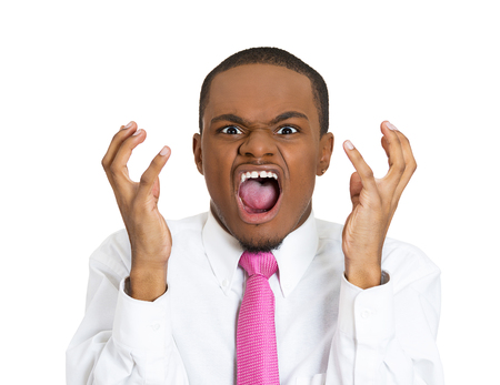 Closeup portrait, upset, angry, mad, displeased man, hands in air, opened mouth yelling, isolated white background. Negative human emotion, facial expression, feelings. Conflict problems, issues