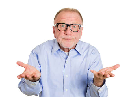 ambiguous: Closeup portrait, dumb clueless senior mature man, arms out asking why whats the problem who cares so what, I dont know. Isolated white background. Negative human emotion facial expression feelings Stock Photo