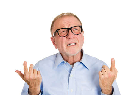 Closeup portrait, senior mature man  thinking, daydreaming, trying hard to remember something looking confused, isolated white background. Negative emotion facial expressions. Short-term memory loss photo
