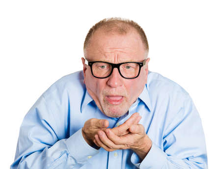 Closeup portrait senior mature nerdy, sick man in black glasses about to chuck, throw up, retch barf, hurl isolated white background. Negative human emotions, feelings, facial expressions.  photo